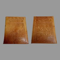 Egyptian Leather Photograph Folder.  Holder.  Ancient Egyptian Motifs.
