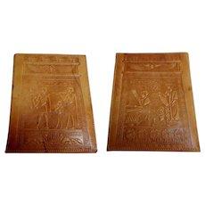 Egyptian Leather Photograph Folder.  Holder.  Ancient Egyptian Motifs.