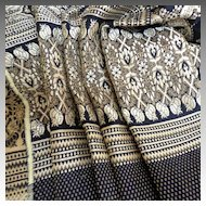 """2 Yds + 7""""  Gorgeous Navy and Silver Brocade Vintage Fabric.  Mint, Unused Condition."""