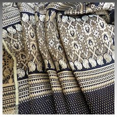 "2 Yds + 7""  Gorgeous Navy and Silver Brocade Vintage Fabric.  Mint, Unused Condition."