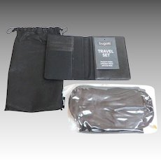 Bugatti Travel Set.  Passport Wallet, Inflatable Pillow, and Eye Mask.  Black. Unused. As New Condition.
