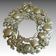 Silver Plated Wall Hanging / Trivet.  Creatures of the Sea.  Mint Condition.