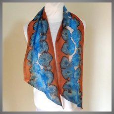 Exquisite Artist Signed Tie Dyed Silk Scarf.  Rectangular. Bronze and Blue. Mint Condition.