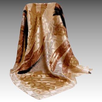 Fabris Venezia Italian 100% Silk Scarf.  Browns and Creams.  Gorgeous. Mint Condition.