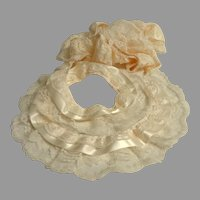 """2 Yds + 17"""" 3 layer Lace and Ribbon Trim.  Cream.  Perfect for Retro Doll Creations.  Mint Condition."""