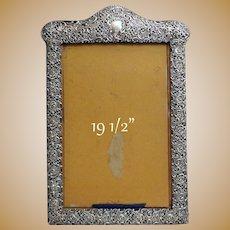 "HUGE  19.5""  Ornate Art Nouveau Silver Frame on Velvet."