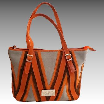 LAND Genuine Suede Leather Purse.  Large Tote.  Grey, Orange, Brown.  Top Quality.  Perfect Condition.