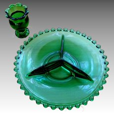 Deep Green Depression Glass Hobnail Divided Dish and Matching Toothpick Holder.  Mint Condition.