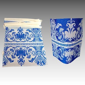 Greek Cotton Blue Embroidered Fabric Swatch.  1970's.  Perfect Condition.