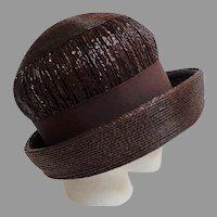 1960's M'SIEU LEON High Brimmed Pillbox Straw Hat.  Chocolate Brown.  Mint Condition.