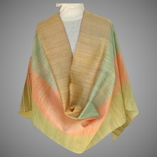 V. Large 100% Indian Silk Pashmina / Shawl.  Multicolored.  Super Gorgeous.  Perfect Condition.