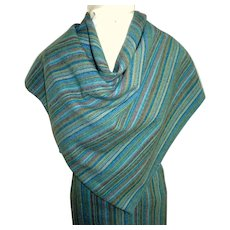 Handwoven Wool Fabric.  2 Pieces.  Multicolored Blues.  Mint Condition.