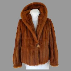 Muskrat Fur Jacket.  Bakelite Buttons.  For Craft Recycling.  Gorgeous Color.