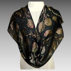 Black Silk Chiffon and Gold Metallic Leaves Scarf.  Totally Gorgeous.  As New Condition.