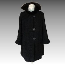 Persian Lamb / Astrakhan Coat with Mink Collar.  Black.  Stroller / 3/4 Length.  Pristine Perfect Condition.