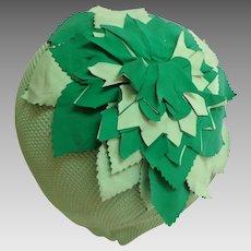 1950's Kleinert's Bathing  /  Swimming Cap.  Green with Flower Decoration.