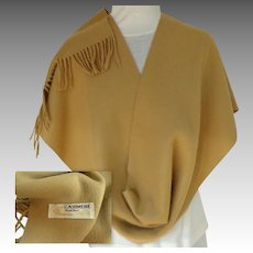 100% Cashmere Scarf.  Camel Color.  Made in Inner Mongolia China.  Rich Quality.  As New Condition.