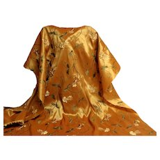 Vintage Gold Heavily Embroidered Fabric.  Taffeta.  Gorgeous.  Mint, Unused Condition.