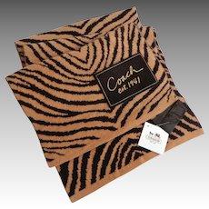 C0ACH Zebra Muffler / Scarf.  MWT. Reversible. Rectangular.  Brown colors.  New Condition.