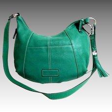 TIGNANELLO Genuine Leather Crossbody / Purse. Teal Green.  As New Condition.