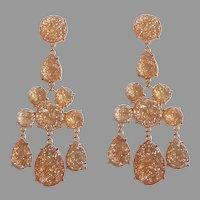 "Spectacular Sparkling Long 3 1/4"" Earrings.  Golden. Lightweight.  Mint Condition."