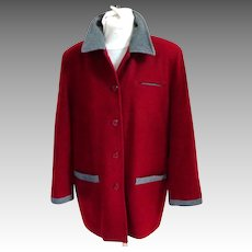 LAUREN JEFFRIES 1980 Classic Style Wool Jacket / Stroller.  Red and Grey.  Mint Condition.