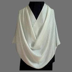 Silver and White Pashmina / Shawl / Scarf.   Rayon.  As New Condition.
