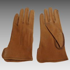 Genuine Leather Deerskin Gloves.  Brown. Size 7 1/2.  Never Worn.  As New Condition.