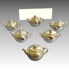 Placecards and  Holders.  6  Miniature Silver Teapots.  As New Condition.