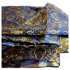 Satin Brocade.  Spectacular Royal Blue, Gold, & White.  2.5 yds.  Unused New Condition.