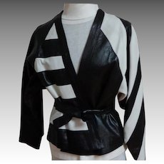 Genuine Leather Jacket.  Made In England.  Designer.  1980's.  Black and White.  As New. Unworn.