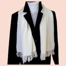 Men's Forsyth Opera Scarf.  Creamy White.  Double Layer.