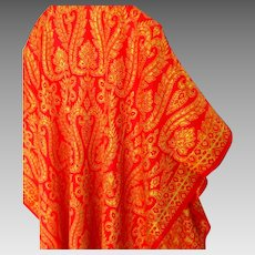 Huge Gold Embroidered on Red Shawl / Pashmina / Home Decor.  MWT  As New Condition.
