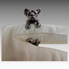 Pug Dog Ring.  Silverplate.  Open Shank.  Adjustable.  Adorable.  Mint Condition.
