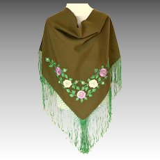 Triangular Embroidered Shawl.  Green.   Long Fringe.  Perfect Condition.