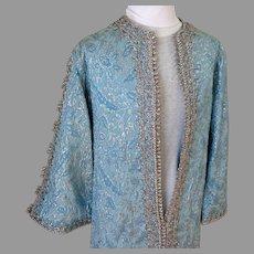 Blue and Silver Metallic Bullion Braid Silk Brocade Evening Coat / Coat Dress.  Floor Length.  Incredible.