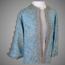 Blue and Silver Metallic Bullion Braid Silk Brocade Evening Coat / Coat Dress.  Floor Length.  Incredible.