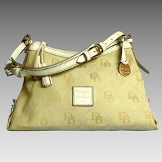 DOONEY & BOURKE Canvas and Leather Purse.  Baize and White.
