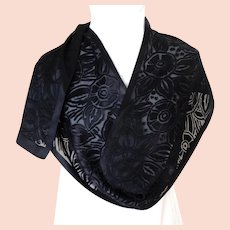 Italian Black Satin and Chiffon Floral Scarf.  Long Rectangular. Elegant.   Mint Condition.