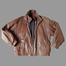 Men's Leather Jacket. Bomber Style. Top Quality. Size Large. Brown. Mint Condition.