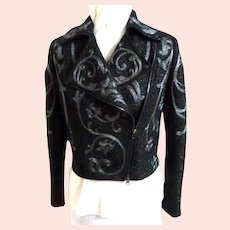MARCHESA VOYAGE Moto Jacket. Black with Gunmetal Embroidery. MWT. As New!