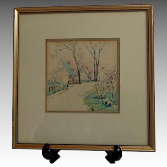 Quebecois / French Canadian Watercolor.  Rural Village  Scene. Signed.  Framed.
