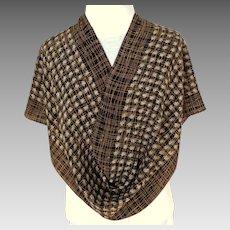 Oscar de la Renta Designer Silk Scarf.  Brown and Black.  Oblong. Perfect Condition.