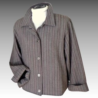 1990's 2 Piece Pants Suit.  Clews Comfortable Clothing.  Size M M/L.   Wine Striped Gray.  As New Condition.