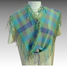Charter Club 100% Cashmere Side Fringed Long Scarf. Pastels.  As New Condition.