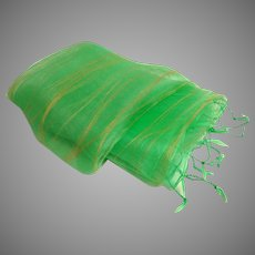 100% Indian Silk Two Layer Shawl.  Lime Green & Orange Gossamer Cloud.  As New Condition.