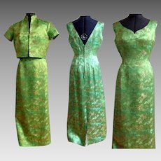 1970's Evening Gown with Jacket.  Chinese Silk Brocade.  Classic Elegance.