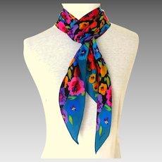 Liz Claiborne Designer 100% Silk Scarf.  Long  Bias Cut.  Flowers.  Gorgeous.  Mint Condition.