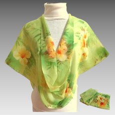 Spring Silk Scarf. Green and Orange.  Mint Condition.