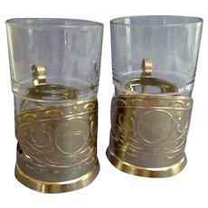 Pair Russian Tea Glass  Holders.  Podstakannik. Soviet Era. 1920's. Mint Condition.